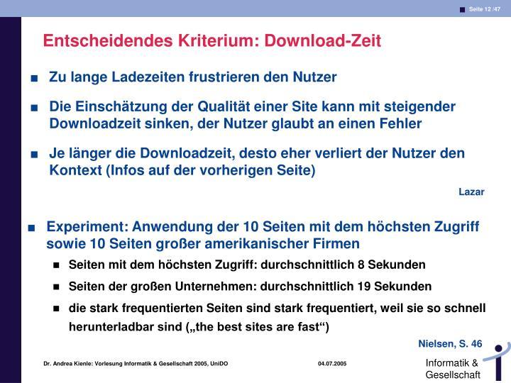 Entscheidendes Kriterium: Download-Zeit