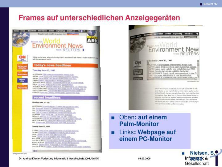 Frames auf unterschiedlichen Anzeigegeräten