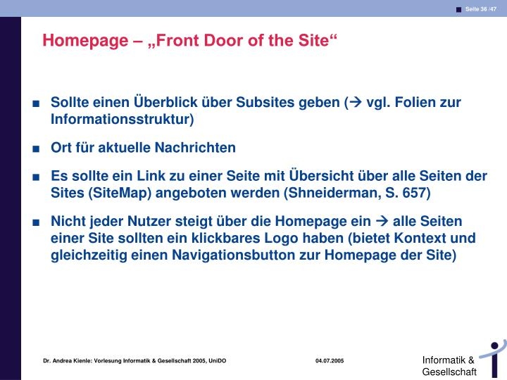 "Homepage – ""Front Door of the Site"""