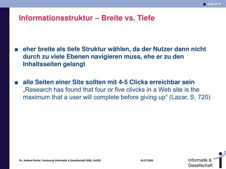 Informationsstruktur – Breite vs. Tiefe