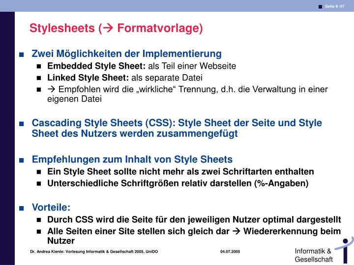 Stylesheets (