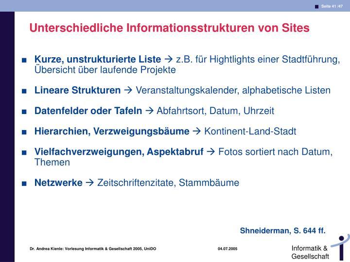 Unterschiedliche Informationsstrukturen von Sites