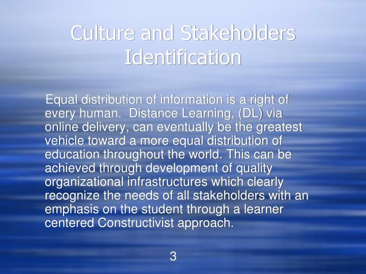 Culture and stakeholders identification