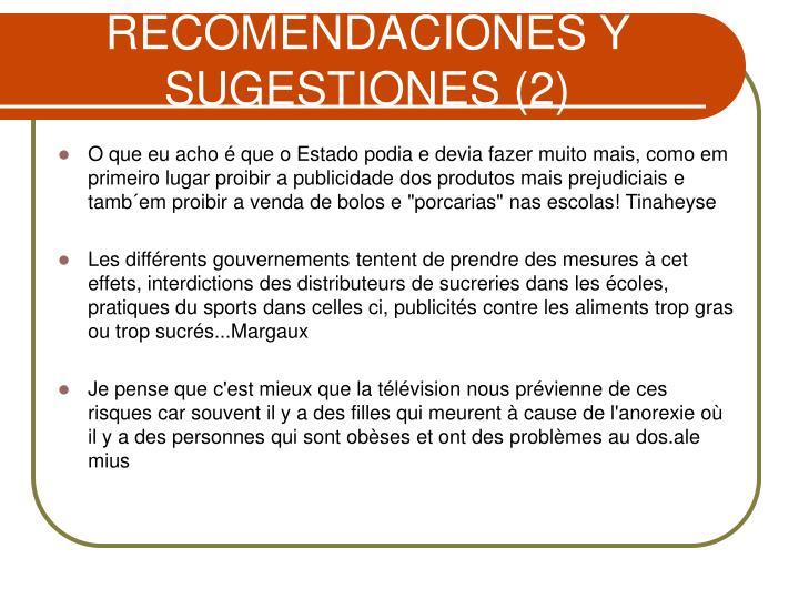 RECOMENDACIÓNES Y SUGESTIONES (2)