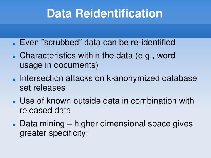 Data Reidentification