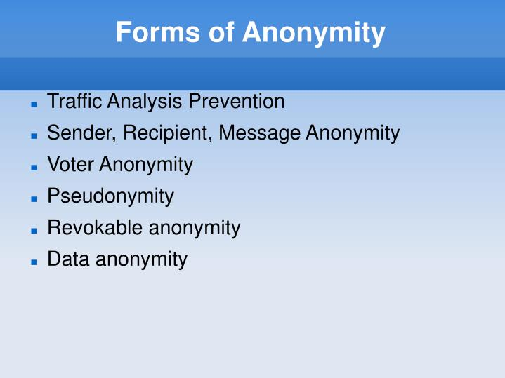 Forms of Anonymity