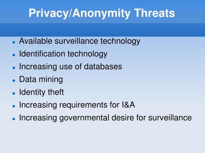 Privacy/Anonymity Threats