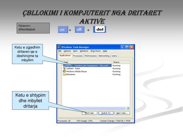 Çbllokimi i kompjuterit nga dritaret aktive