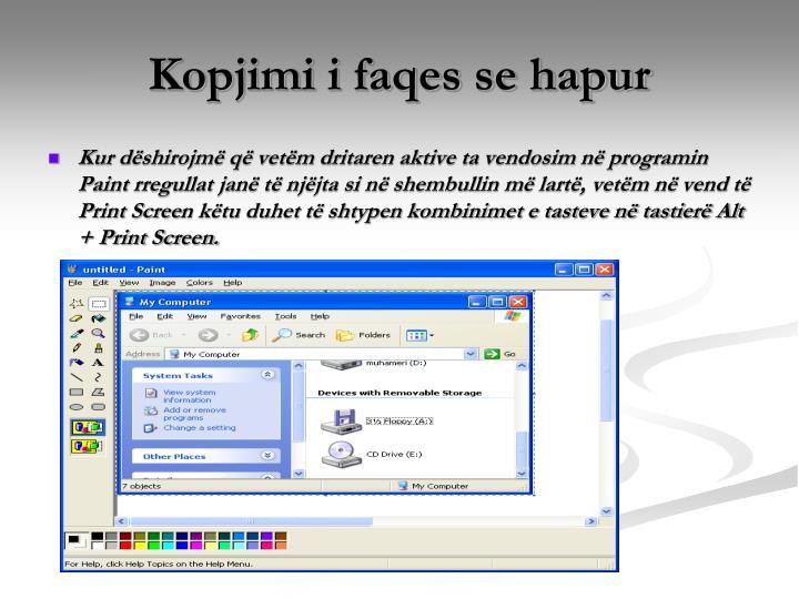 Kopjimi i faqes se hapur