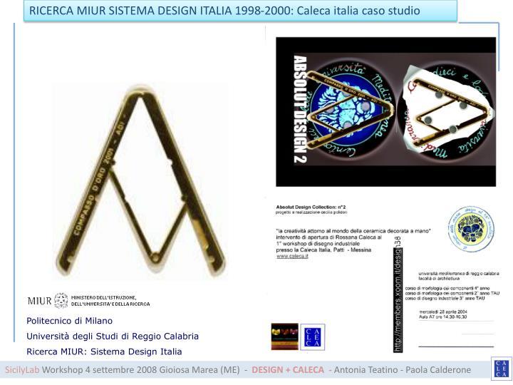 RICERCA MIUR SISTEMA DESIGN ITALIA 1998-2000:
