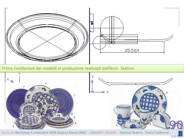 Prime rivisitazioni dei modelli in produzione realizzati dall'Arch. Teatino