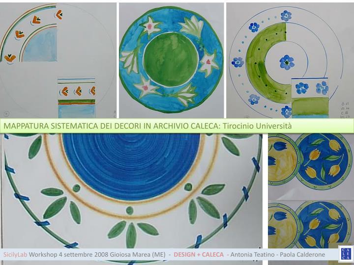 MAPPATURA SISTEMATICA DEI DECORI IN ARCHIVIO CALECA: Tirocinio Università
