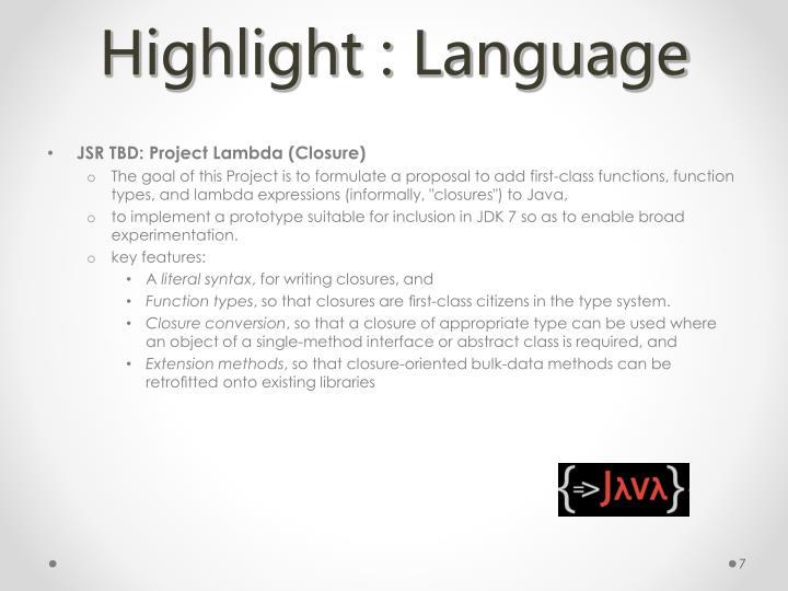 Highlight : Language