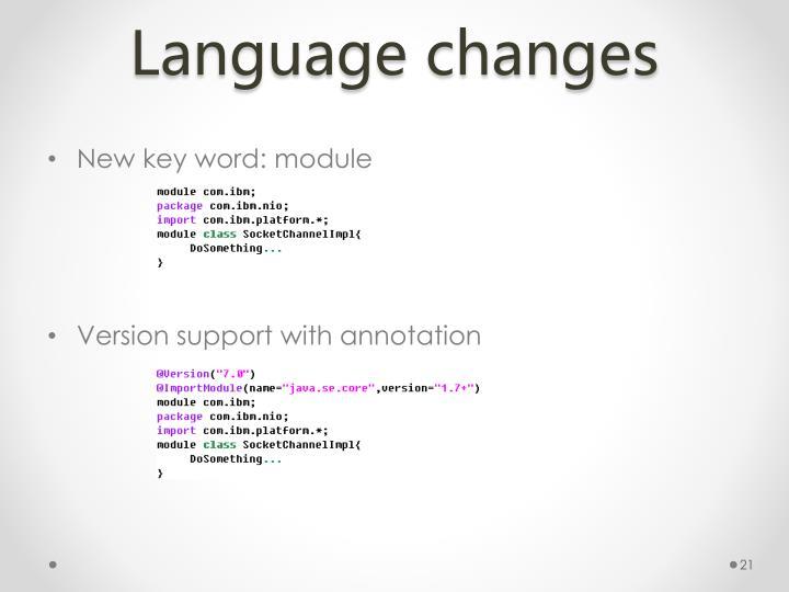 Language changes