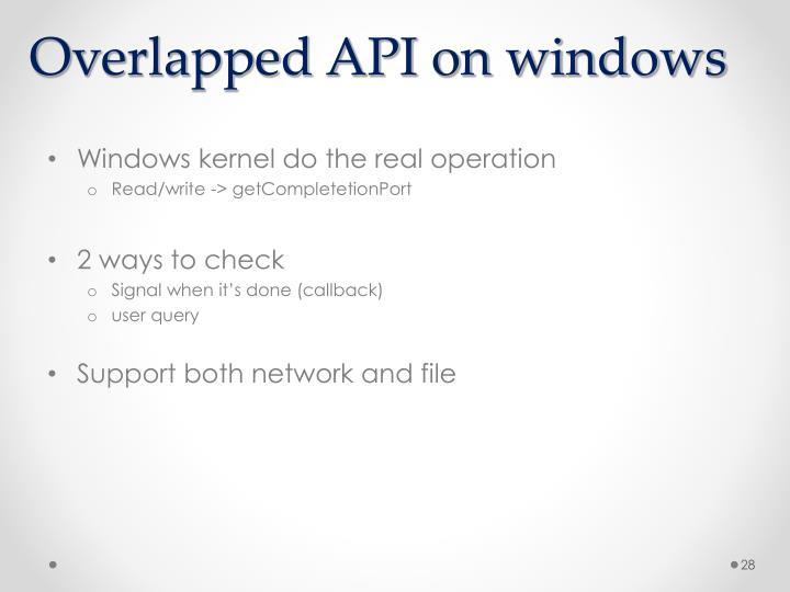 Overlapped API on windows