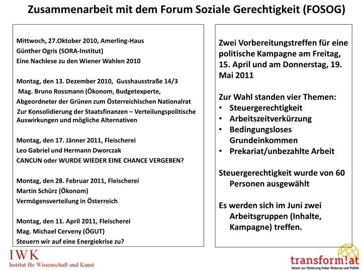 Zusammenarbeit mit dem Forum Soziale Gerechtigkeit (FOSOG)