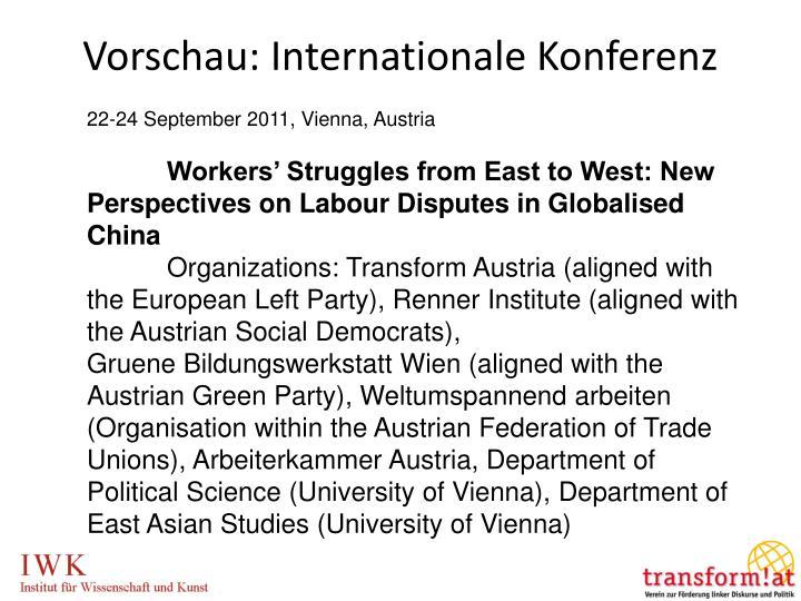 Vorschau: Internationale Konferenz