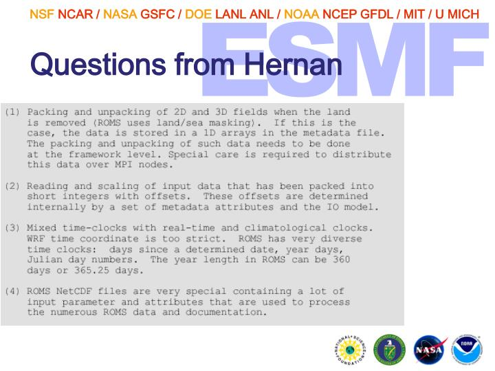 Questions from Hernan