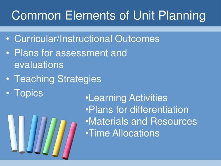 Common Elements of Unit Planning