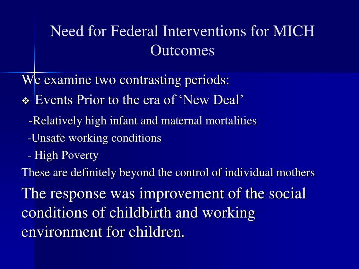 Need for Federal Interventions for MICH Outcomes