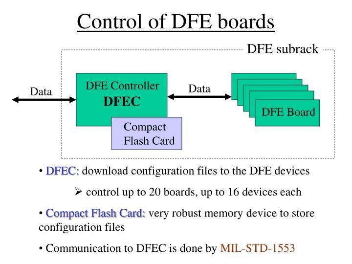 Control of DFE boards