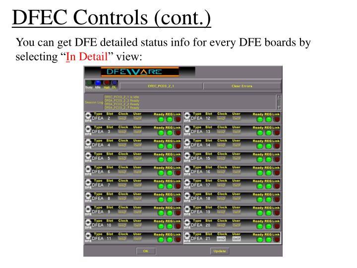 DFEC Controls (cont.)