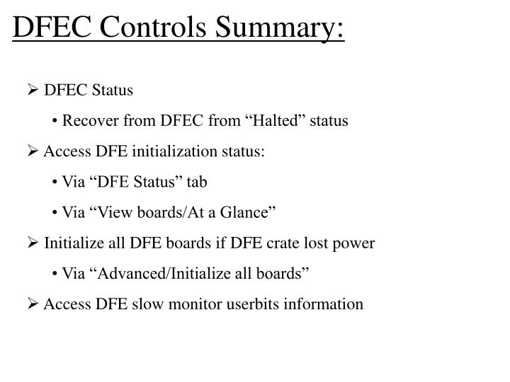 DFEC Controls Summary: