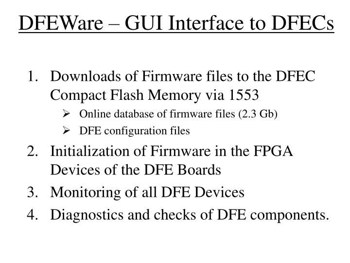 DFEWare – GUI Interface to DFECs