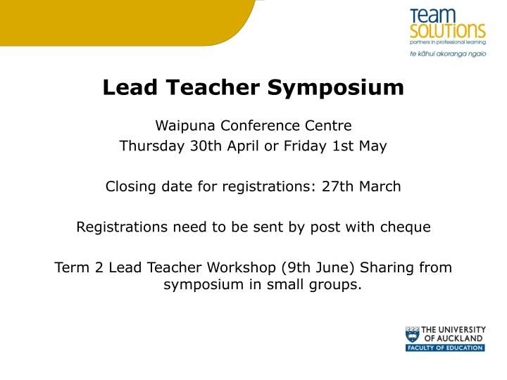 Lead Teacher Symposium