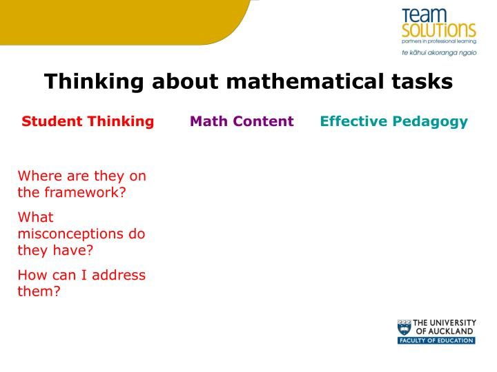 Thinking about mathematical tasks