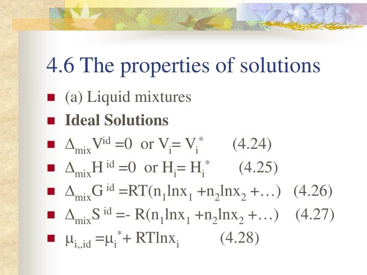 4.6 The properties of solutions