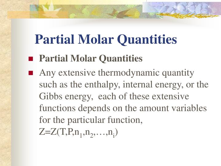 Partial Molar Quantities