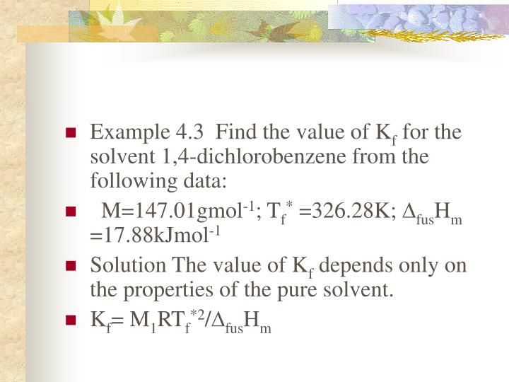 Example 4.3  Find the value of K