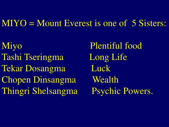 MIYO = Mount Everest is one of  5 Sisters:
