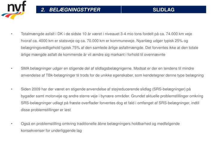 Totalmængde asfalt i DK i de sidste 10 år været i niveauet 3-4
