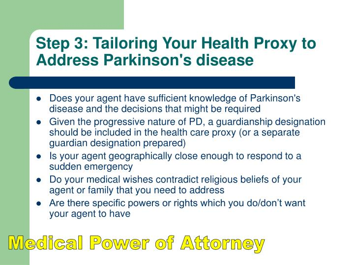 Step 3: Tailoring Your Health Proxy to Address Parkinson's disease