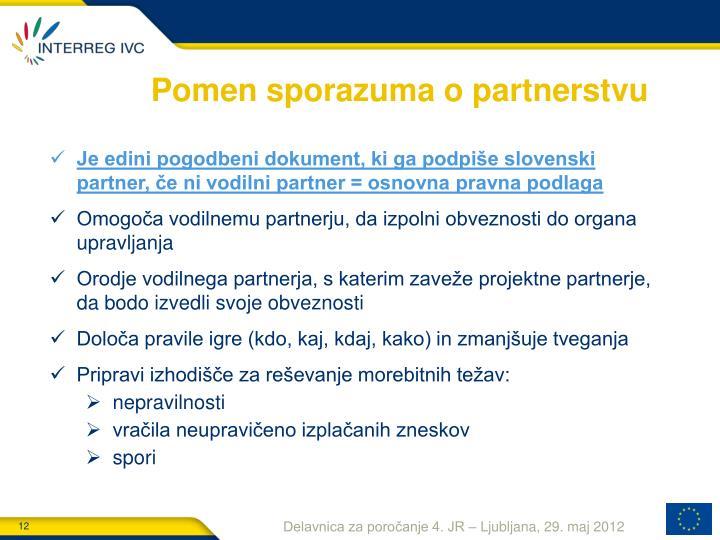 Pomen sporazuma o partnerstvu