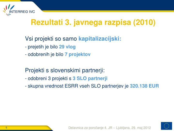 Rezultati 3. javnega razpisa (2010)