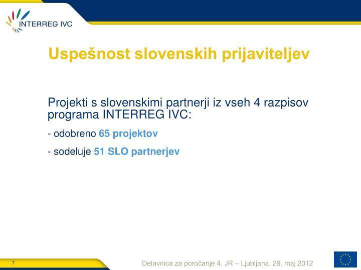 Uspešnost slovenskih prijaviteljev