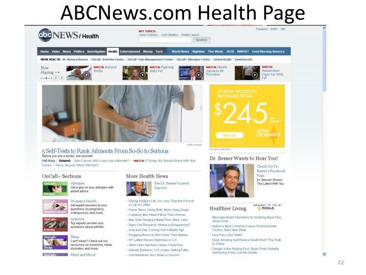 ABCNews.com Health Page