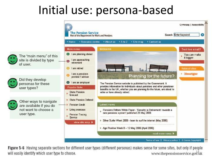 Initial use: persona-based