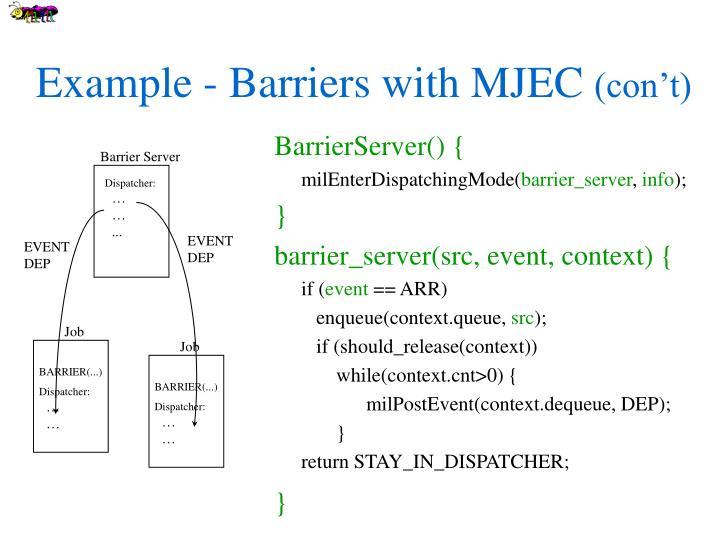Example - Barriers with MJEC
