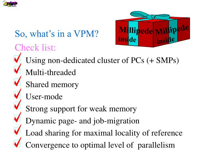 So, what's in a VPM?