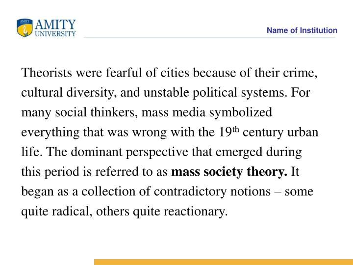 Theorists were fearful of cities because of their crime,