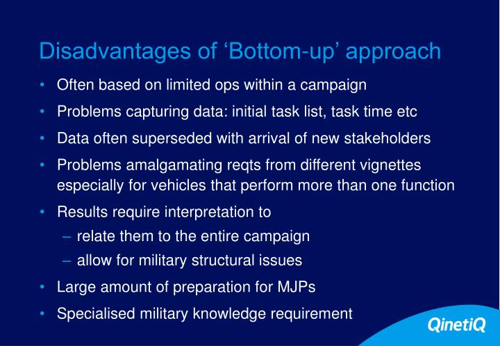 Disadvantages of 'Bottom-up' approach