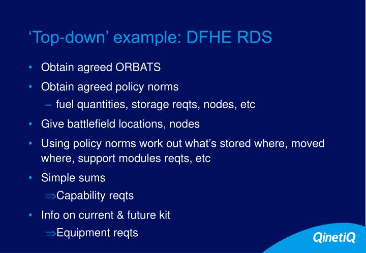 'Top-down' example: DFHE RDS
