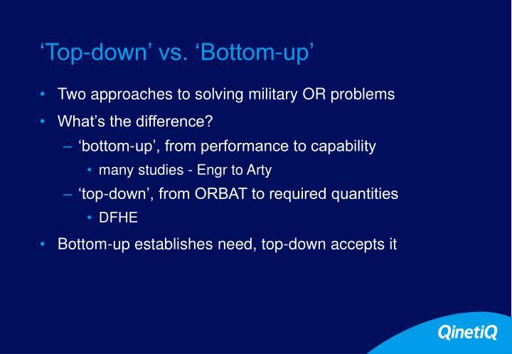 'Top-down' vs. 'Bottom-up'