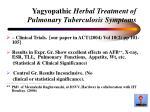 yagyopathic herbal treatment of pulmonary tuberculosis symptoms