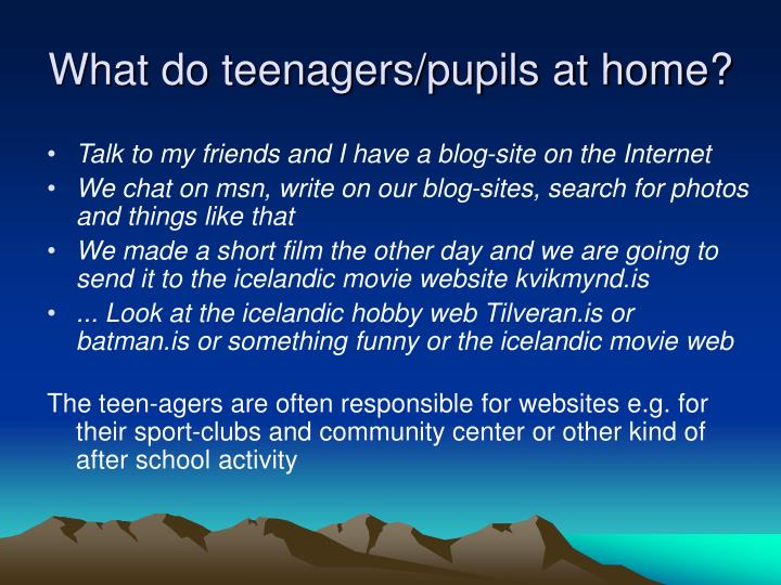 What do teenagers/pupils at home?
