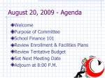 august 20 2009 agenda